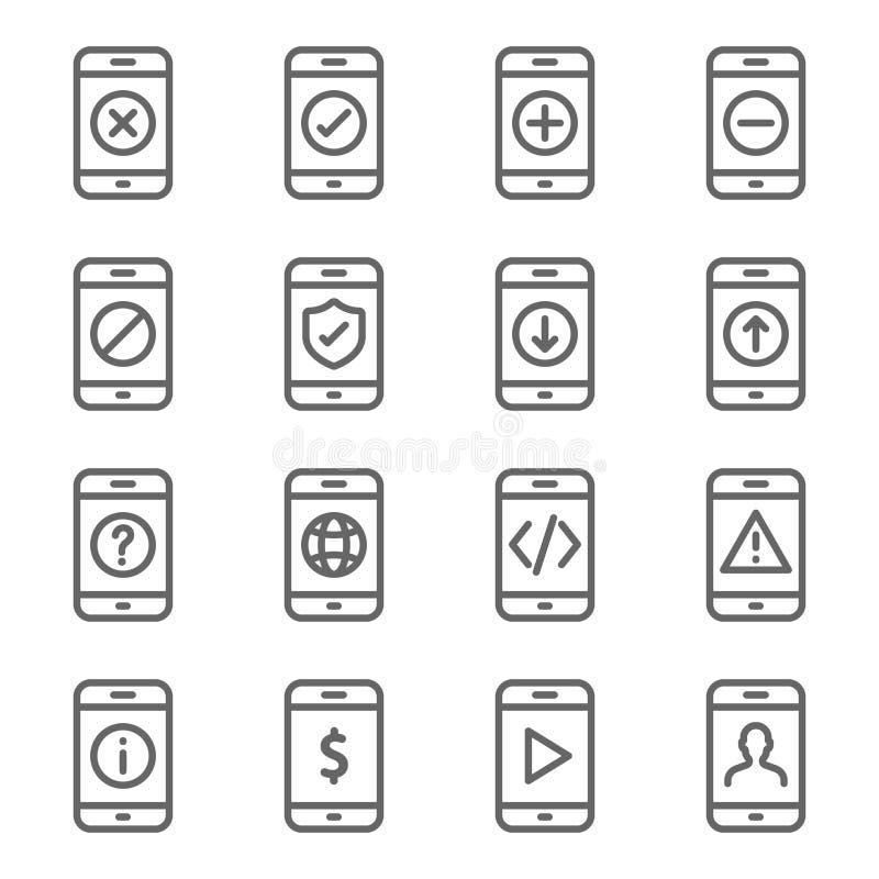 Набор значка прибора смартфона Содержит такие значки как загрузка, загрузка, предупреждение, превращается, мобильная сеть, состоя иллюстрация штока