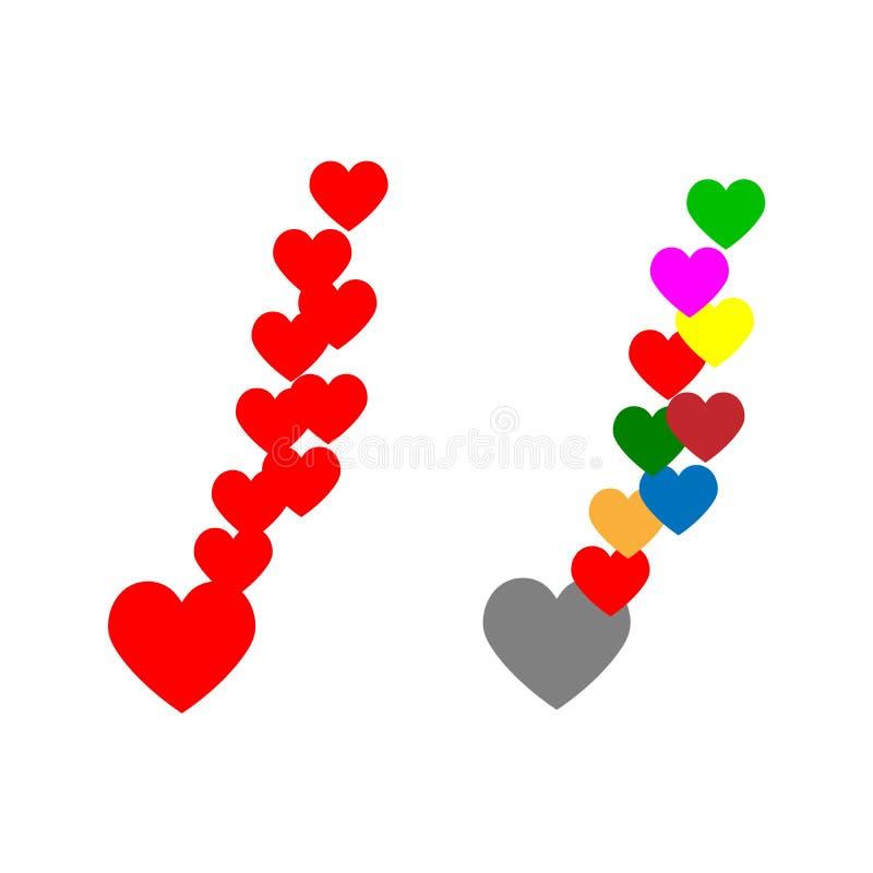 Набор значка сердец Сердце вектора и плоского стиля красочное иллюстрация вектора