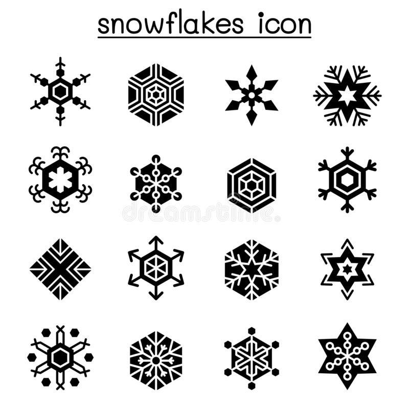 Набор значка снежинок в плоском стиле иллюстрация вектора