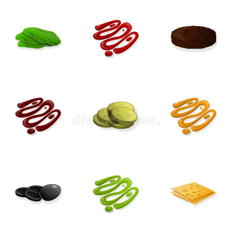 Набор значка соуса бургера, стиль мультфильма бесплатная иллюстрация