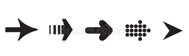 Набор значка стрелки, черная предпосылка цвета и белых иллюстрация штока