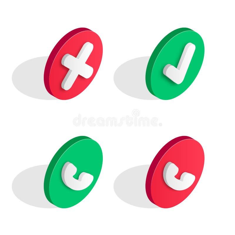 Набор значка телефонного звонка равновеликий иллюстрация вектора