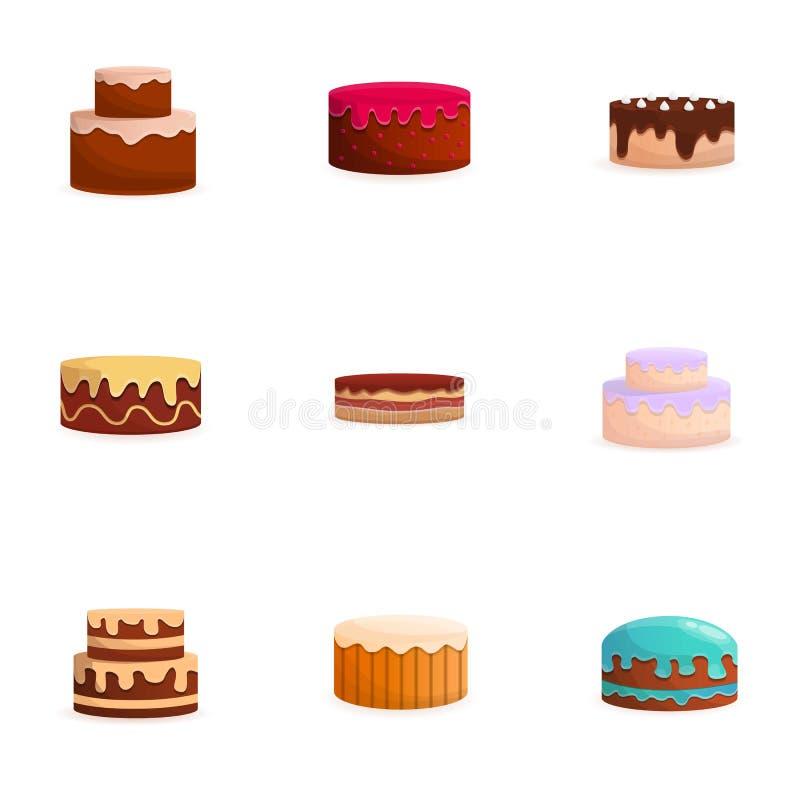 Набор значка торта, стиль мультфильма иллюстрация вектора