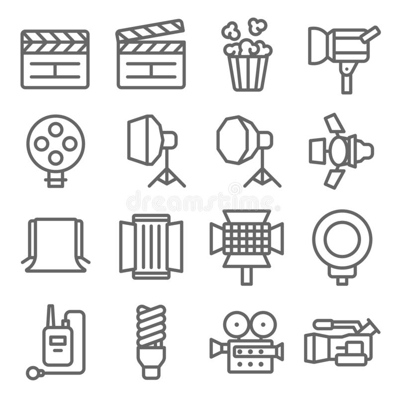 Набор значка фильма Содержит такие значки как шифер, фон, фара, шарик, видеокамера и больше Расширенный ход иллюстрация вектора