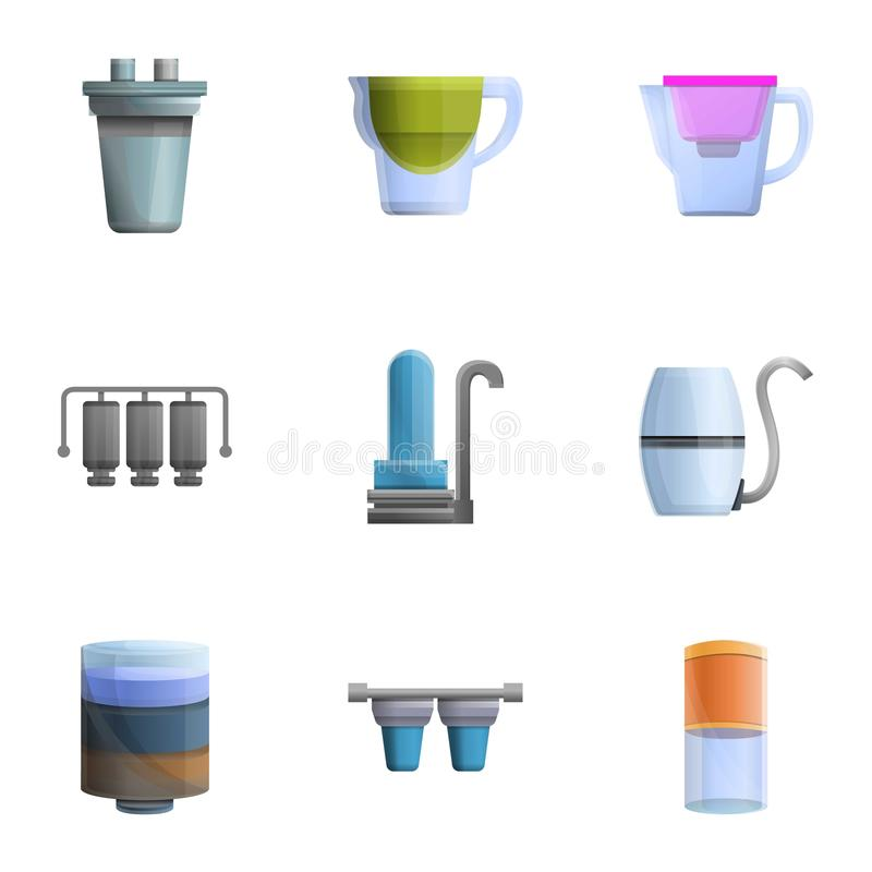 Набор значка фильтрации Aqua, стиль мультфильма иллюстрация штока