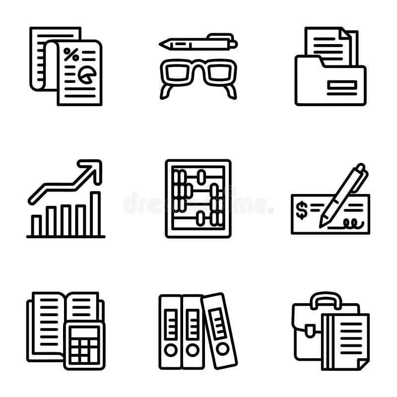 Набор значка финансов, стиль плана бесплатная иллюстрация