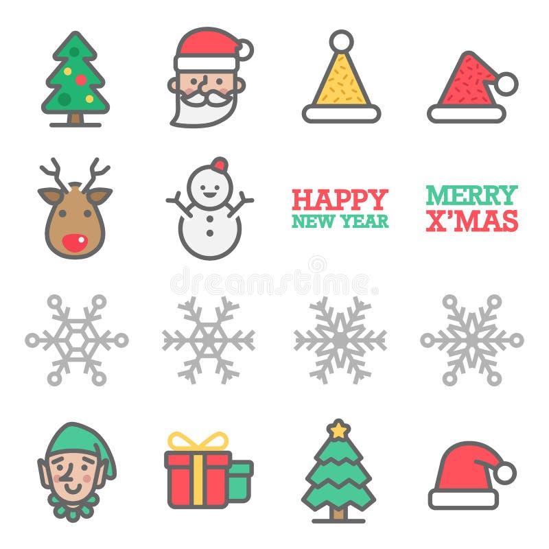 Набор значка цветного барьера вектора рождества Содержит такие значки как Санта Клаус, снежинка, эльф, снеговик, шляпа рождества, иллюстрация штока
