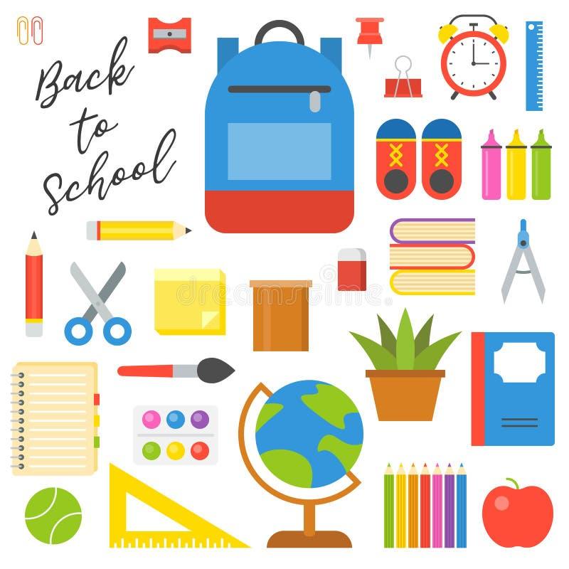 Набор значка школьных принадлежностей в плоском дизайне для задней части к теме школы иллюстрация штока