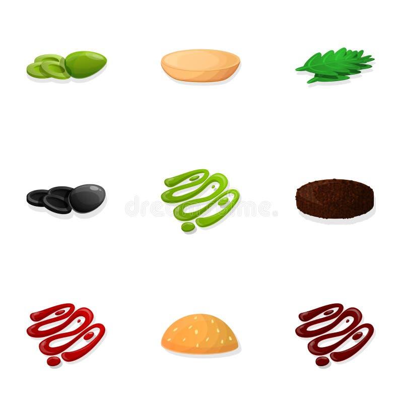 Набор значка элемента бургера, стиль мультфильма иллюстрация штока
