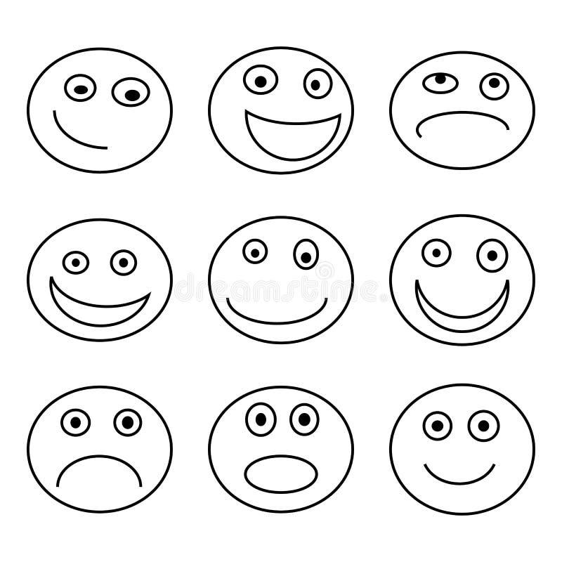 Набор значка эмоции, черное изолированный на белой предпосылке, иллюстрации вектора бесплатная иллюстрация