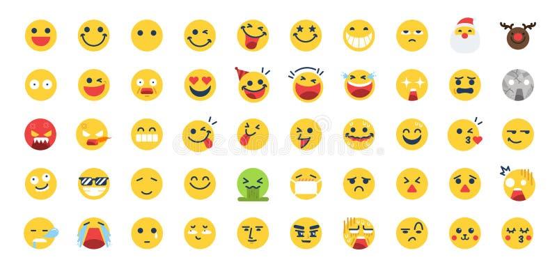 Набор значка 50 Emoji Включил значки как счастливый, эмоцию, сторону, чувство, смайлик и больше иллюстрация вектора