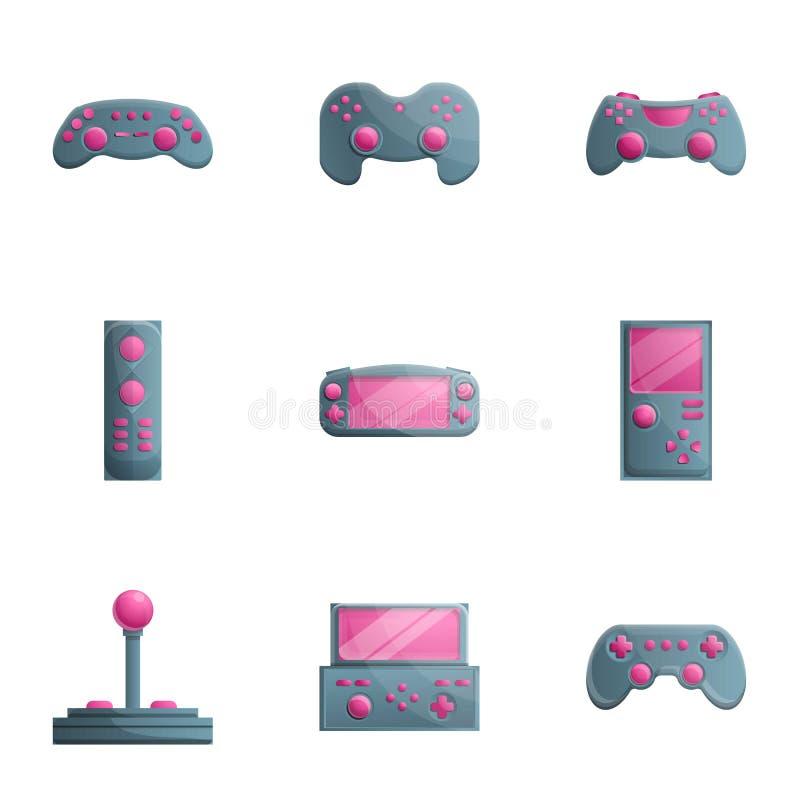 Набор значка Gamepad, стиль мультфильма иллюстрация вектора