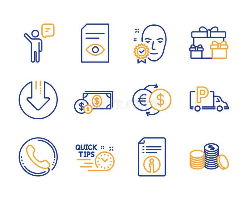 Набор значков агента, центра телефонного обслуживания и технической информации Загрузите стрелку, стоянку тележки и обмен денег з бесплатная иллюстрация