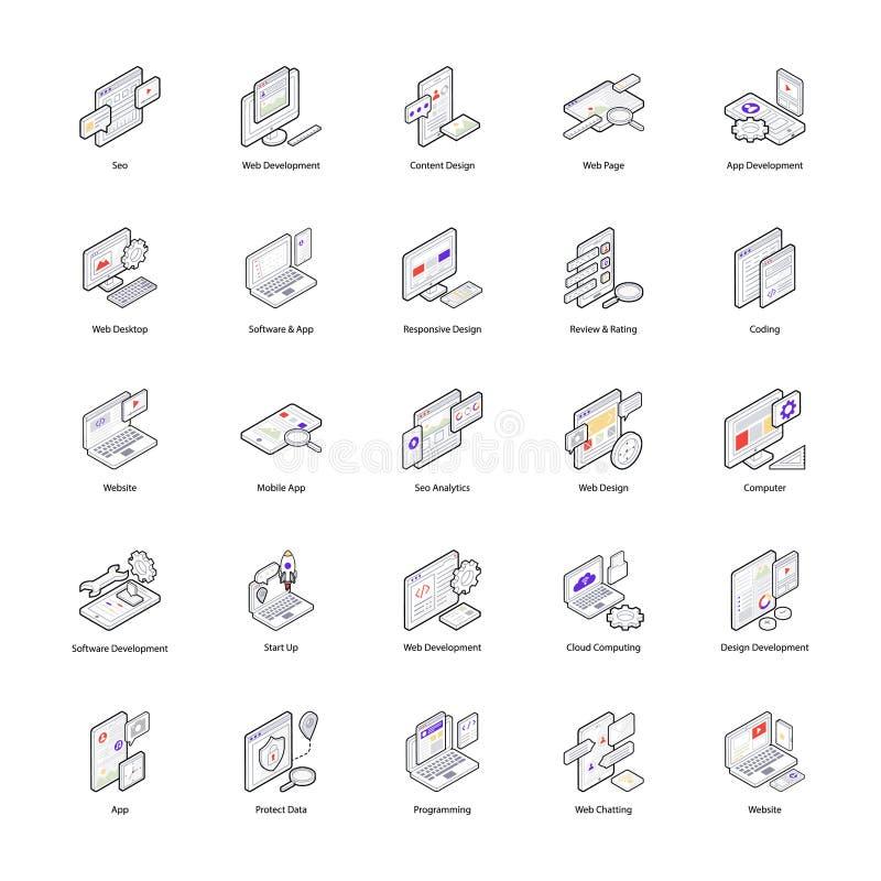 Набор значков веб-дизайна иллюстрация вектора