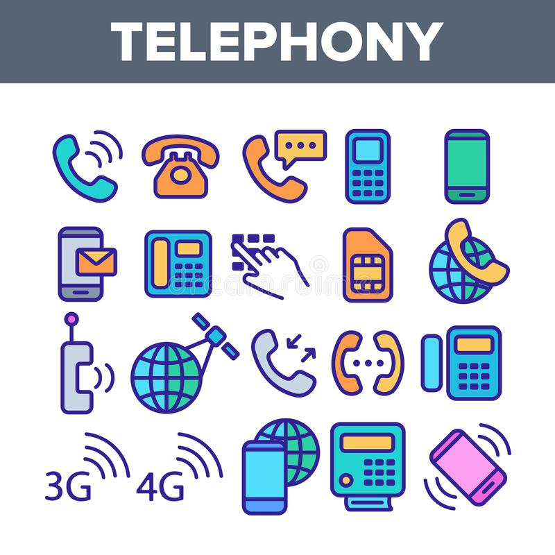 Набор значков вектора глобальной системы телефонирования линейный иллюстрация вектора
