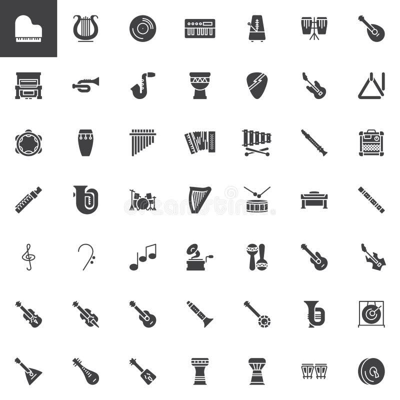 Набор значков вектора музыкальных инструментов бесплатная иллюстрация
