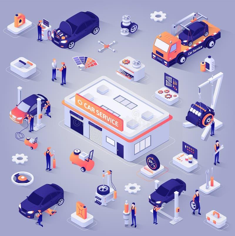 Набор значков вектора равновеликой проекции обслуживания автомобиля иллюстрация вектора