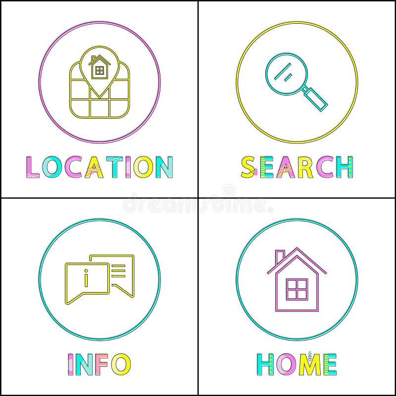 Набор значков возвращения информации о местоположении объекта иллюстрация вектора