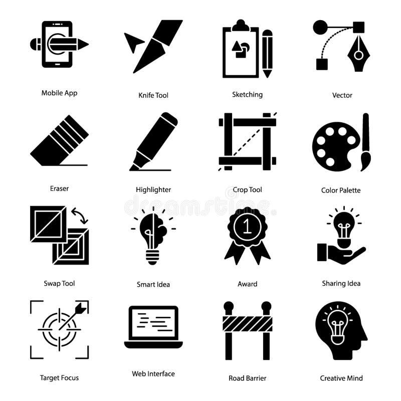 Набор значков графического дизайна бесплатная иллюстрация