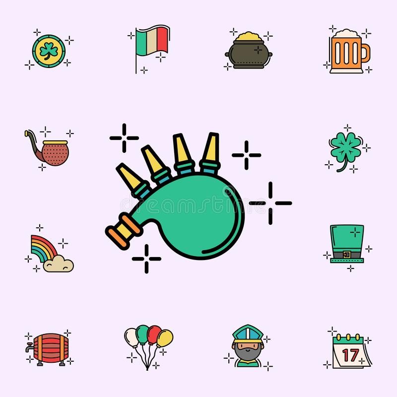 Волынки, зеленый значок Набор значков дня StPatricks всеобщий для сети и черни иллюстрация вектора