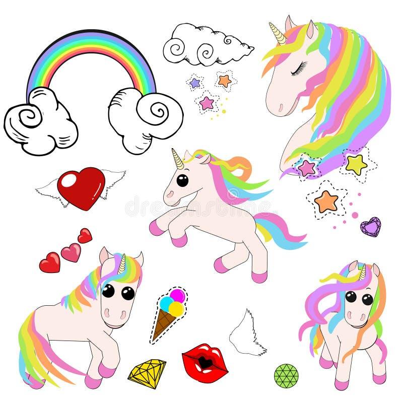 Набор значков единорогов, звезд, мороженого, радуги, облаков со скручиваемостями, губ в поцелуе, мороженого в рожке и диамантов бесплатная иллюстрация