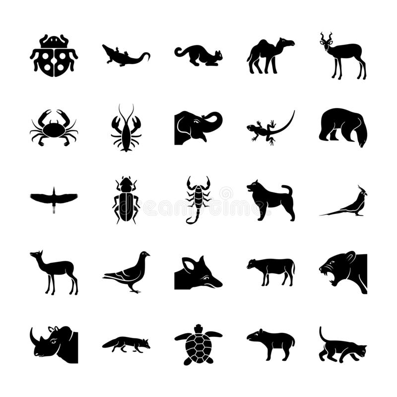 Набор значков живой природы твердый иллюстрация штока