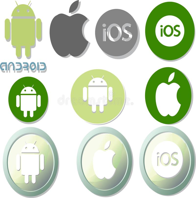Набор значков и логотипов Android и IOS иллюстрация штока