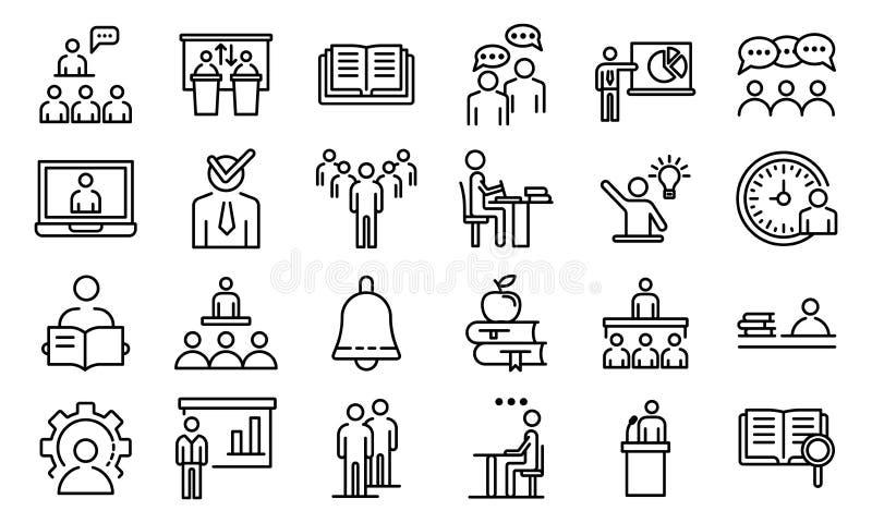 Набор значков класса лекции, стиль плана бесплатная иллюстрация