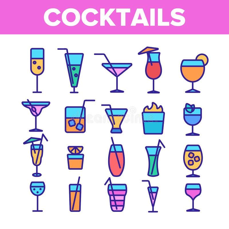 Набор значков коктейлей, алкоголя и лимонадов линейный иллюстрация вектора
