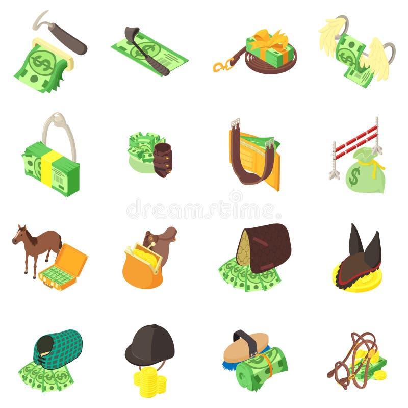 Набор значков лошади денег, равновеликий стиль иллюстрация штока