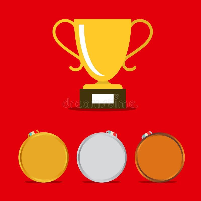 Набор значков медалей вектора иллюстрация вектора