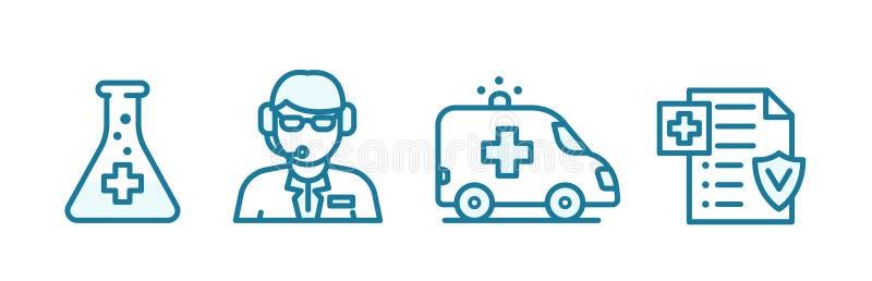 Набор значков медицинского страхования Онлайн-доктор Скорая помощь Лечение Страховый документ Синяя линия контура структуры иллюстрация штока