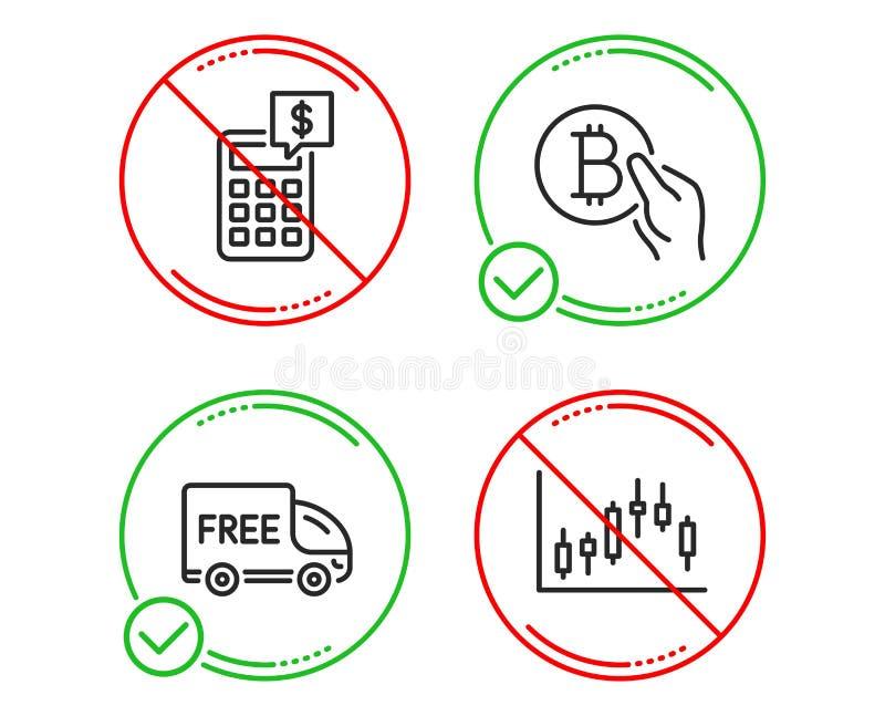 Набор значков оплаты калькулятора, бесплатной доставки и Bitcoin Знак диаграммы подсвечника r иллюстрация штока