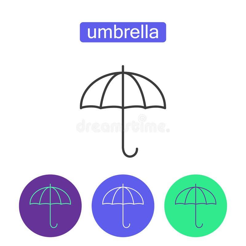 Набор значков плана зонтика радуги иллюстрация вектора