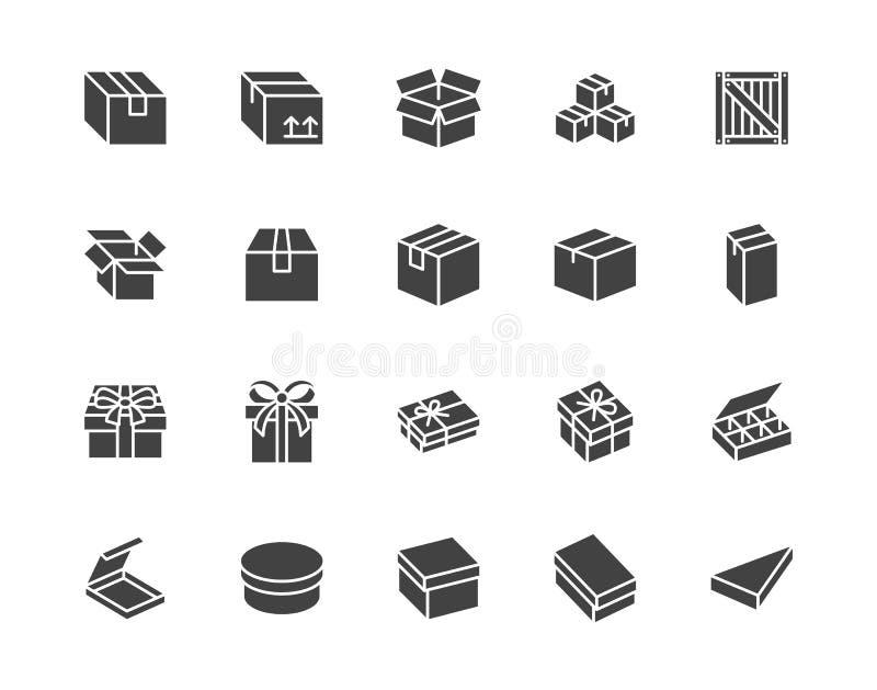 Набор значков плоского глифа Картон, деревянные ящики, упаковка продукции, векторные иллюстрации подарков Простые черные знаки до бесплатная иллюстрация