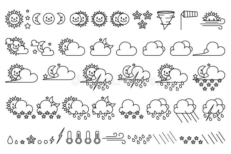 Набор значков погоды вектора милый иллюстрация вектора