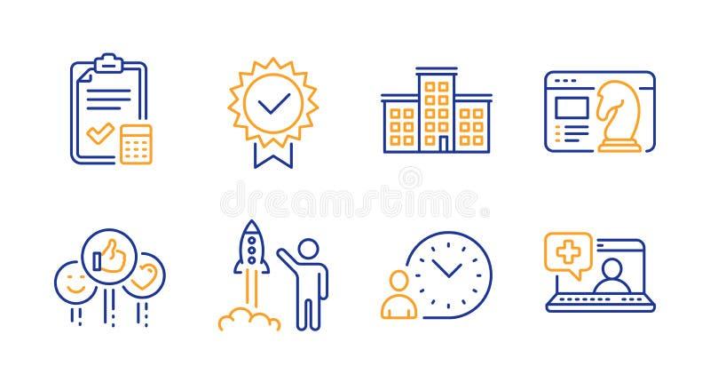 Набор значков проекта 'Компания', 'Запустить проект' и стратегии 'Сео' Знаки контрольного списка управления временем, типа и учет бесплатная иллюстрация