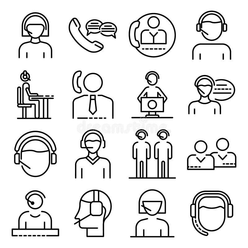 Набор значков работников центра телефонного обслуживания, стиль плана иллюстрация вектора