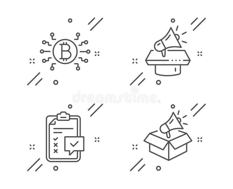 Набор значков системы Checklist, Megaphone и Bitcoin Знак мегафона Вектор бесплатная иллюстрация