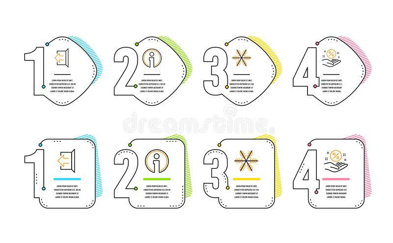 Набор значков снежинки, информации и знака вне r Кондиционирование воздуха, информация, выход из системы r иллюстрация штока