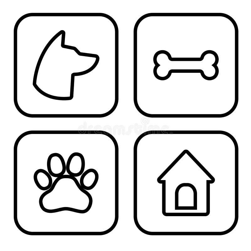 Набор значков собаки квадратный Голова собаки, лапка, косточка, дом собаки вектор иллюстрация вектора