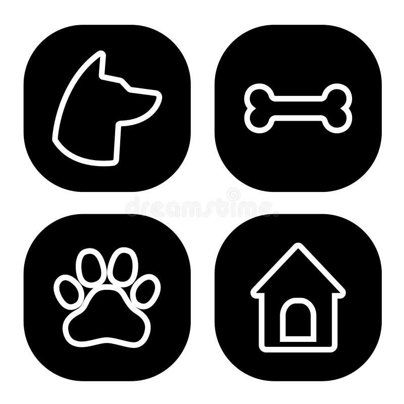 Набор значков собаки квадратный Голова собаки, лапка, косточка, дом собаки r иллюстрация вектора