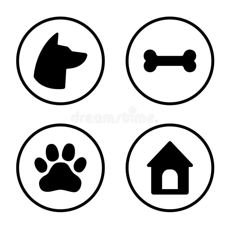 Набор значков собаки круглый Голова собаки, лапка, косточка, дом собаки вектор бесплатная иллюстрация