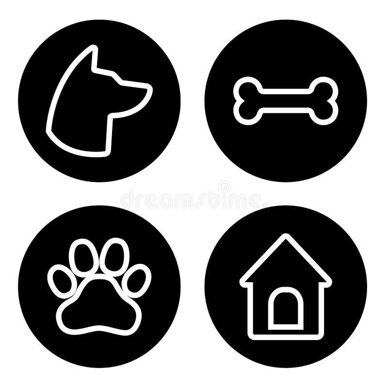 Набор значков собаки круглый Голова собаки, лапка, косточка, дом собаки вектор иллюстрация вектора