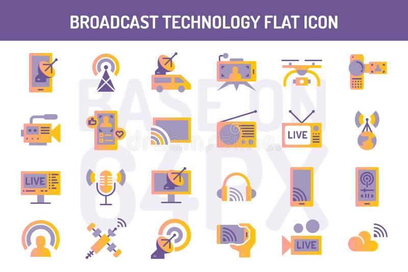 Набор значков технологии передачи плоский бесплатная иллюстрация