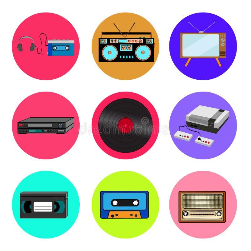 Набор значков ультрамодного ретро старого крутого хипстера винтажных круглых от 70s, 80s, аудиоплеера кассеты 90s, аудио рекордер бесплатная иллюстрация