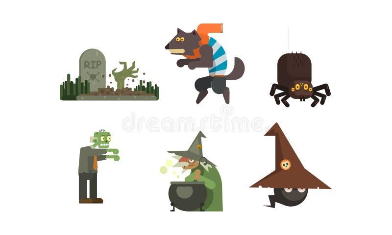 Набор значков хеллоуина, могила с надгробной плитой, ведьмой, пауком, оборотнем, зомби, элементами дизайна для вектора праздника иллюстрация вектора
