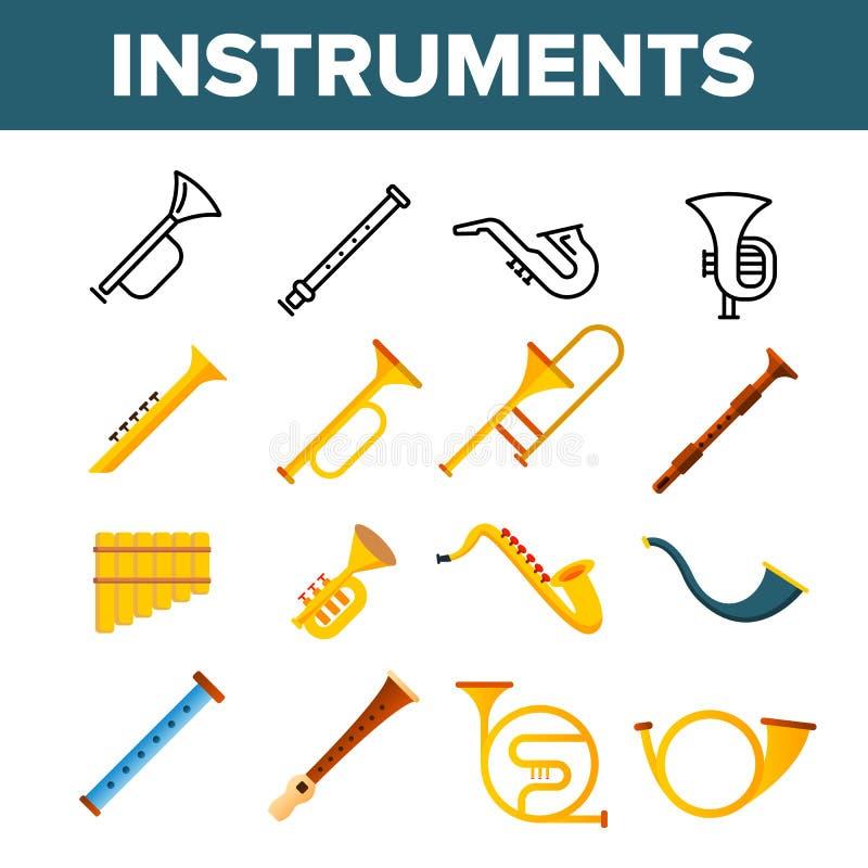 Набор значков цвета вектора музыкальных инструментов ветра иллюстрация вектора