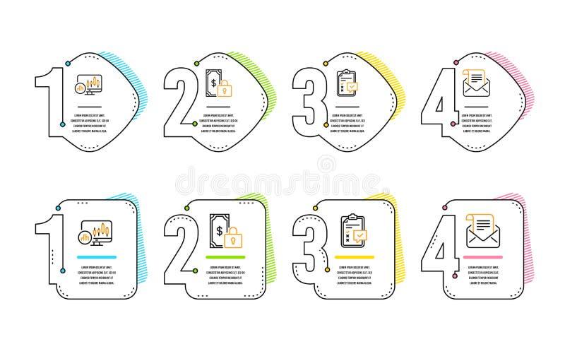 Набор значков частные оплата, диаграмма контрольного списока и подсвечника Знак информационого бюллетеня почты r иллюстрация штока