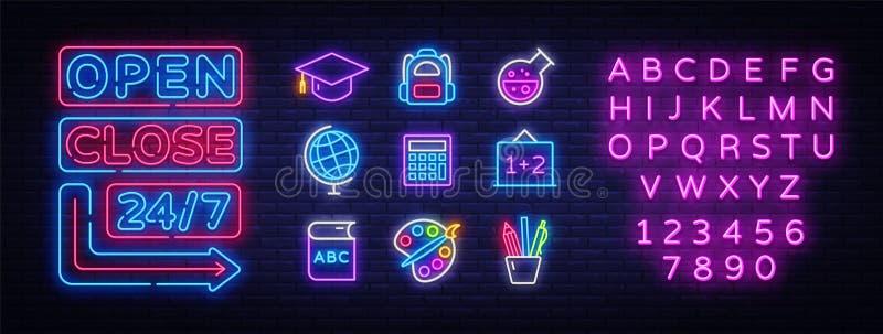 Набор значков школы Назад к неоновым вывескам собрания школы Открытые близкие яркие доски знака, светлое знамя Неоновый изолирова иллюстрация вектора